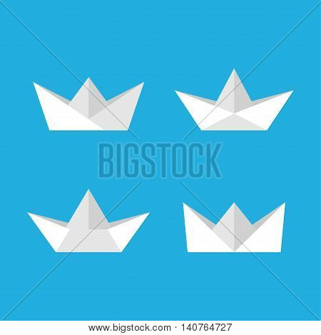 Paper boats vector set isolated from the background. Icons of children's paper ships in a flat style. Origami boats on the water.