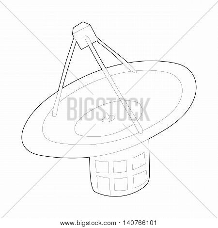 Satellite communication station icon in outline style on a white background