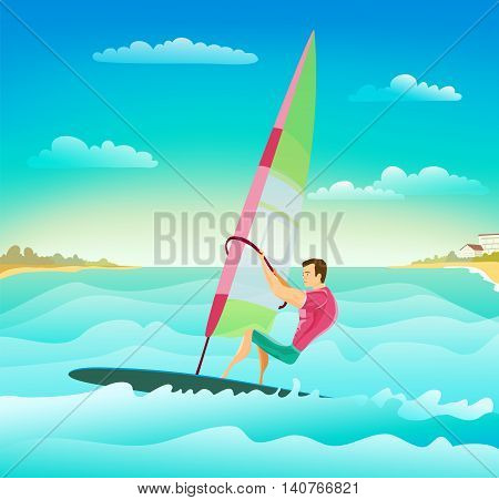 cartoon with windsurfing athletic man on ocean waves. stylish summer surfing sport theme illustration. vector