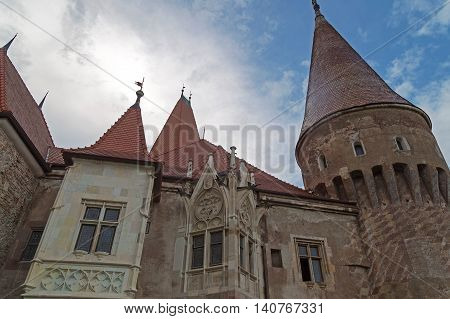 View of one part from Corvin castle. One of the famous Romanian landmarks located in Transylvania also related to Dracula names and vampires.