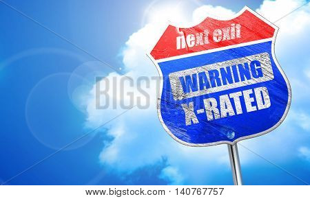 Xrated sign isolated, 3D rendering, blue street sign