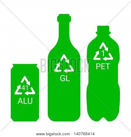 Recycle garbage - plastic, aluminium, glass - ecological illustration, vector symbols