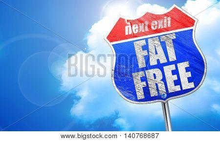 fat free, 3D rendering, blue street sign
