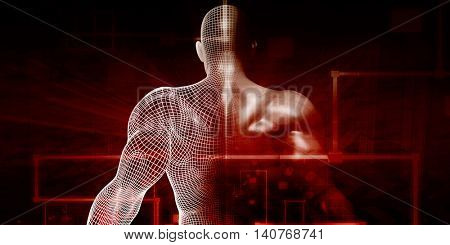 Digital Health System Software and Body Technology as Concept 3D Render
