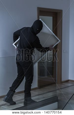 Sneaking Out Of The House With His Robbed Trophy