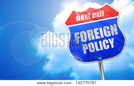 foreign policy, 3D rendering, blue street sign
