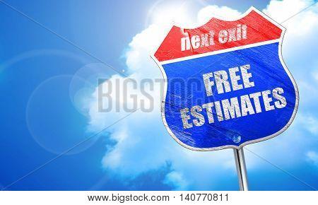 free estimate, 3D rendering, blue street sign