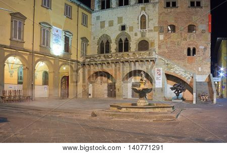 PRATO ITALY - JULY 11: Nightview of the Comune square on July 11 2016