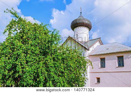 Church of Simeon the God Receiver in Zverin Pokrovsky Monastery Veliky Novgorod Russia - architecture landscape
