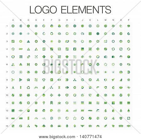 Logo elements mega collection, abstract geometric business icon set