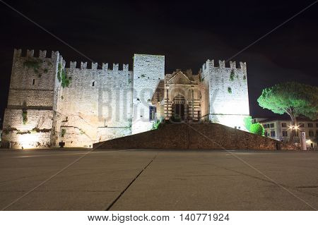PRATO ITALY - JULY 11: Nightview of the Emperor castle on July 11 2016