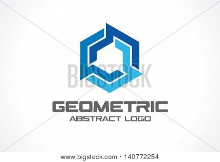 Abstract business company logo. Corporate identity design element. Industry, finance, bank logotype idea. Hexagon group, network integrate, technology interaction concept. Color Vector connect icon poster