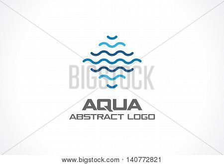 Abstract logo for business company. Corporate identity design element. Eco ocean, nature, swimming pool, spa, aqua swirl Logotype idea. Water wave, blue sea square concept. Colorful Vector line icon poster