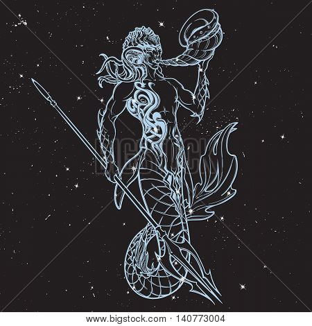 Merman or triton mythological ocean creature armed with trident. Hand drawn artwork Isolated on nightsky background. Neptune or Poseidon God of freshwater and the sea. EPS10 vector illustration. poster