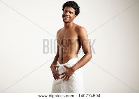 Smiling Man After Shower Wears White Towel