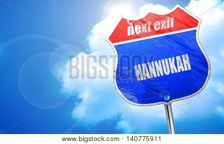 hannukah, 3D rendering, blue street sign