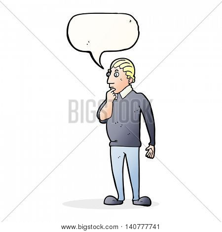 catoon curious man with speech bubble