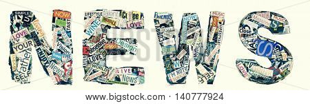 the word NEWS  Made from random cutout words