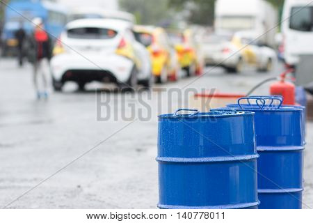 Barrels with a sporty petrol. High octane fuel.