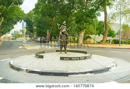 HAIFA ISRAEL - FEBRUARY 19 2016: The Statue of Brotherhood by Yosl Bergner in Haifa Municipality Square dedicated to the soldiers defended the city on February 19 in Haifa.