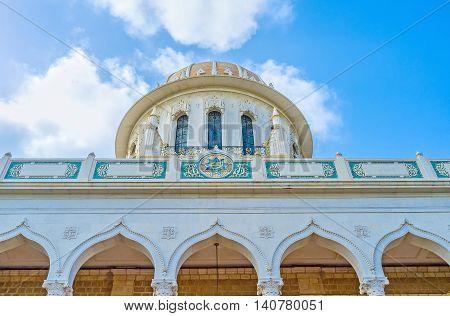 HAIFA ISRAEL - FEBRUARY 20 2016: The facade of the Shrine of Bab founder of Bahi Faith on February 20 in Haifa.