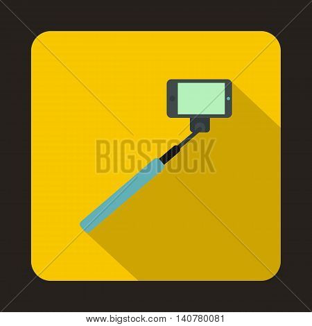 Selfie stick and smartphone icon in flat style with long shadow. Device symbol