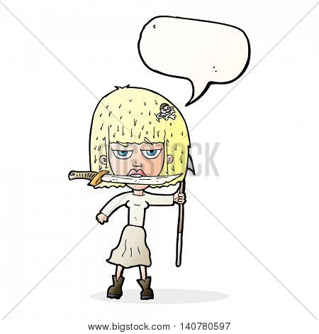cartoon woman with knife and harpoon with speech bubble
