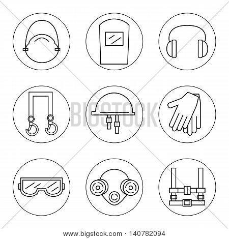 Set of icons of individual protective equipment in construction. Protective equipment for eyes head ears hands lungs and the body. Body protection and health. Vector illustration.