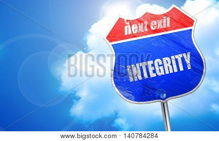 integrity, 3D rendering, blue street sign