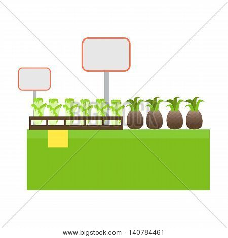 Shelf with products in grocery store vector. Flat design. Showcase with fruits and vegetables in market.  Assortment, merchandising and shop equipment concept. Tags for price, sale, discount numbers.
