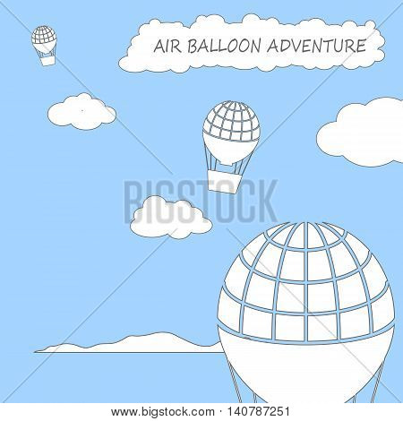 Air balloons flying in the cloudy sky, square vector illustration in flat style with place for text. Flight high in the sky card template or banner background. Cartoon style summer travel image