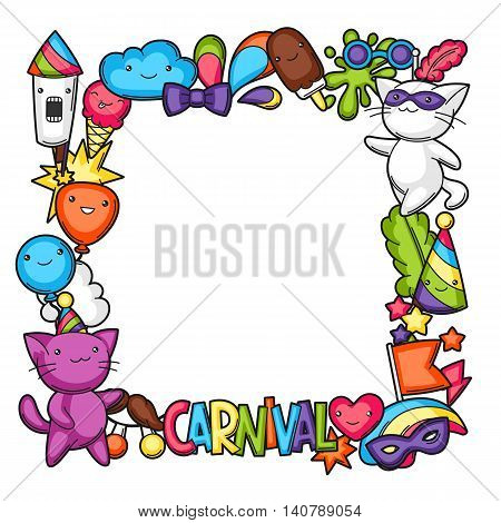 Carnival party kawaii frame. Cute cats, decorations for celebration, objects and symbols. poster