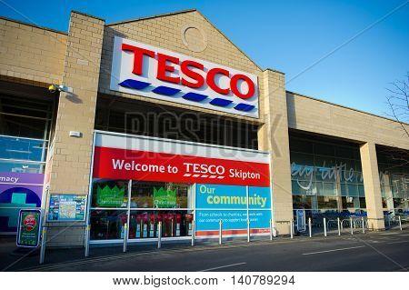 SKIPTON-DEC 10: Tesco Store on Dec. 10, 2012 in Skipton, North Yorkshire, United Kingdom, Great Britain, England, UK. Britain's biggest supermarket and biggest retailer in UK.