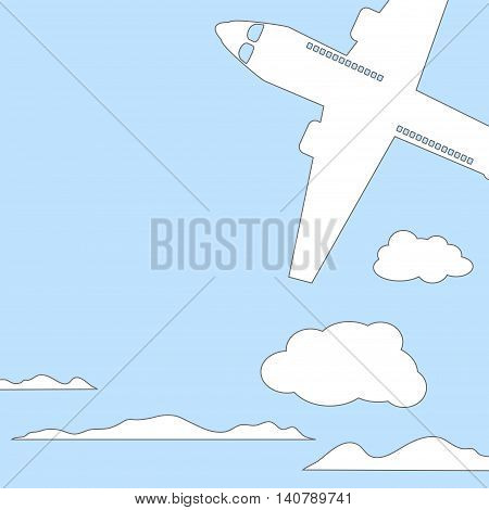 Air plane and sky with clouds square vector illustration with place for text. White outlined silhouette of air craft. Coloring page or book cover. Summer travel banner template, card background