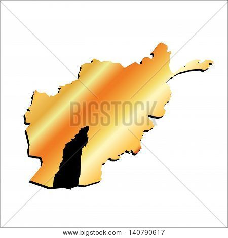 3D Vector Afghanistan Gold Outline Mercator Map Showing Helmand