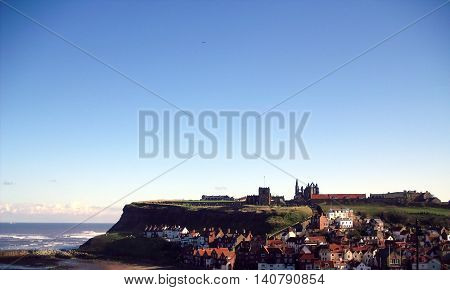 View of Whitby Abbey and Town North Yorkshire