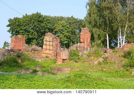 Ruin of Lower Dacha in Alexandria Park near St.Petersburg Russia.
