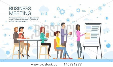 Business People Group Presentation Flip Chart Finance, Casual Businesspeople Team Training Conference Meeting Flat Vector Illustration