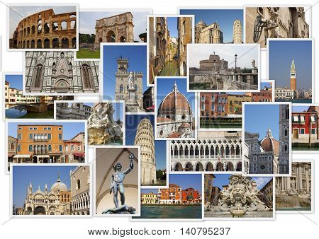 Traveling around Italy in collage with several shots