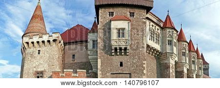 Panoramic view of one part from Corvin castle. One of the famous Romanian landmarks located in Transylvania also related to Dracula names and vampires.