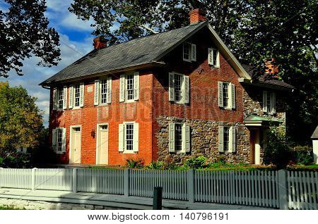 Lancaster Pennsylvania - October 14 2015: Circa 1830 Jacob and Elizabeth Landis Brick Homestead at the Landis Valley Village and Farm Museum *