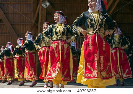 ROMANIA TIMISOARA - JULY 10 2016: Young Turkish dancers in traditional costume present at the international folk festival