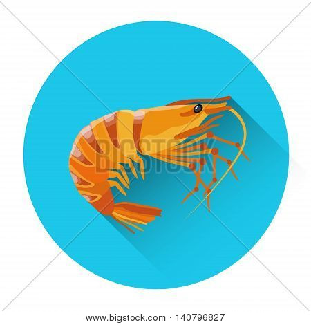 Cooked Shrimp Seafood Icon Flat Vector Illustration