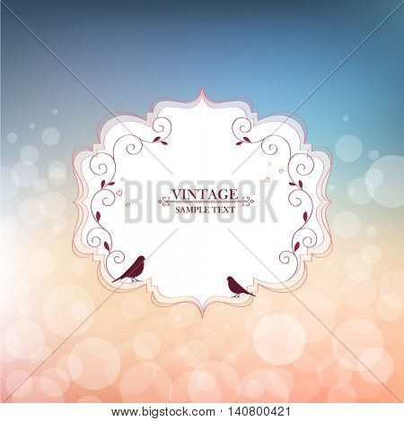 Vintage floral abstract hand-drawn frame with birds. Element for design. Vector illustration.