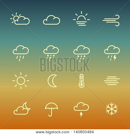 Lines weather forcast Icon set on green gradient background. Simple vector symbols for internet or print.
