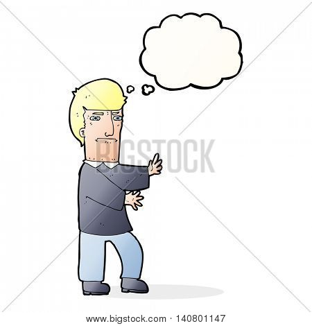 cartoon grumpy man with thought bubble