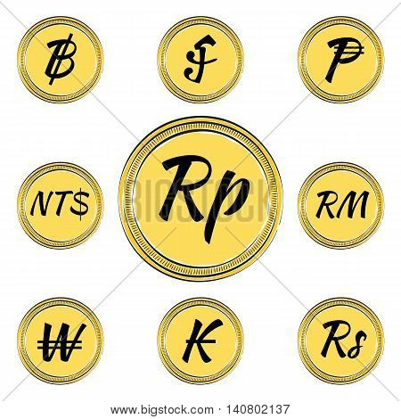 Set of Coins with Symbols of 9 Asian Currencies. Hand Drawn Coins. Vector EPS 10