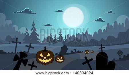 Halloween Banner Cemetery Graveyard Pumpkin Face Flat Vector Illustration