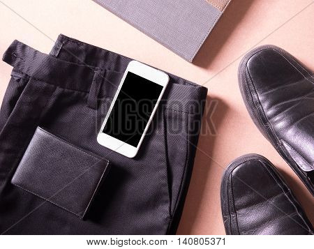 business set of accessory smartphone wallet leather shoe in concept new employess poster