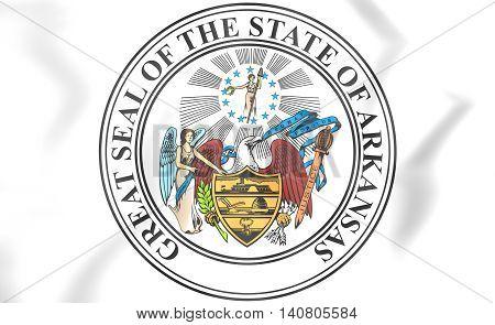 State Seal Of Arkansas, Usa. 3D Illustration.